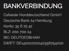 Bankverbindung Cafaesie